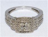 10K White Gold Split Shank Diamond Cluster Square Halo Ring Size: 7
